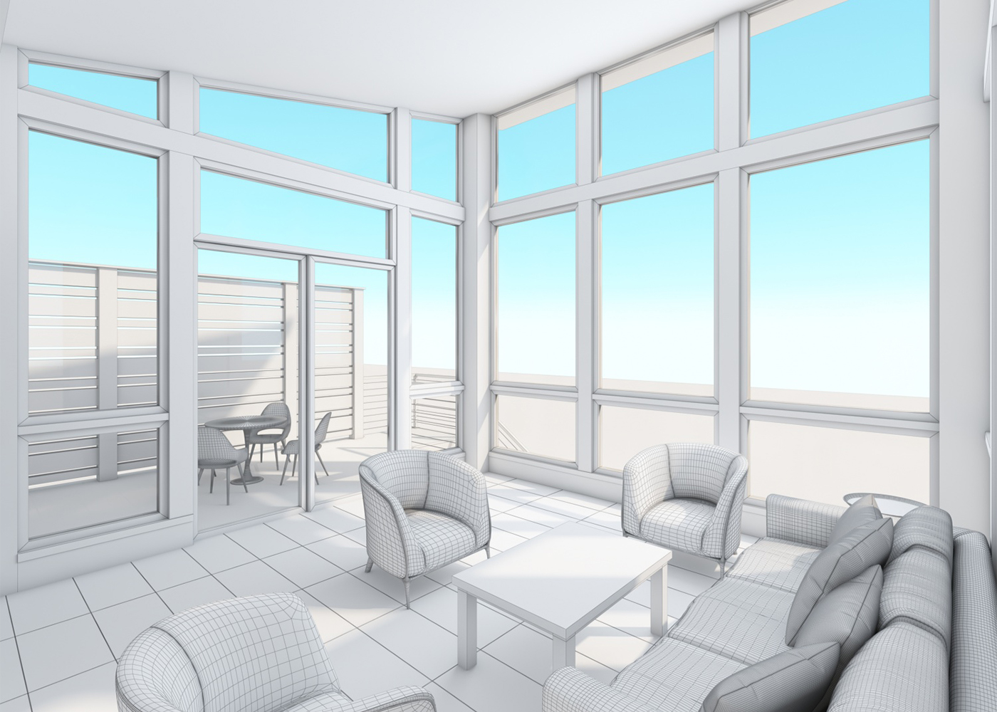 Home Sunroom Addition - interior conceptual rendering